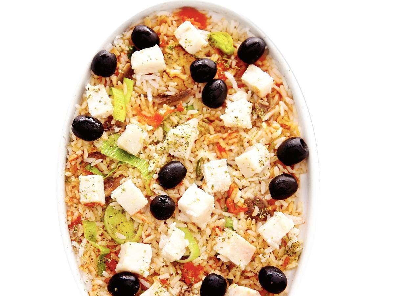 Mediterrane rijst met 2 soorten vis