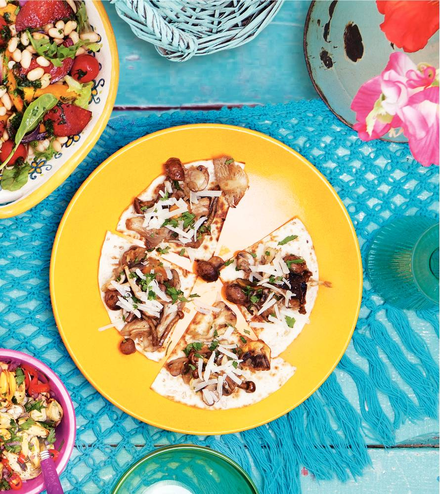 Tostada pecorino & champignons
