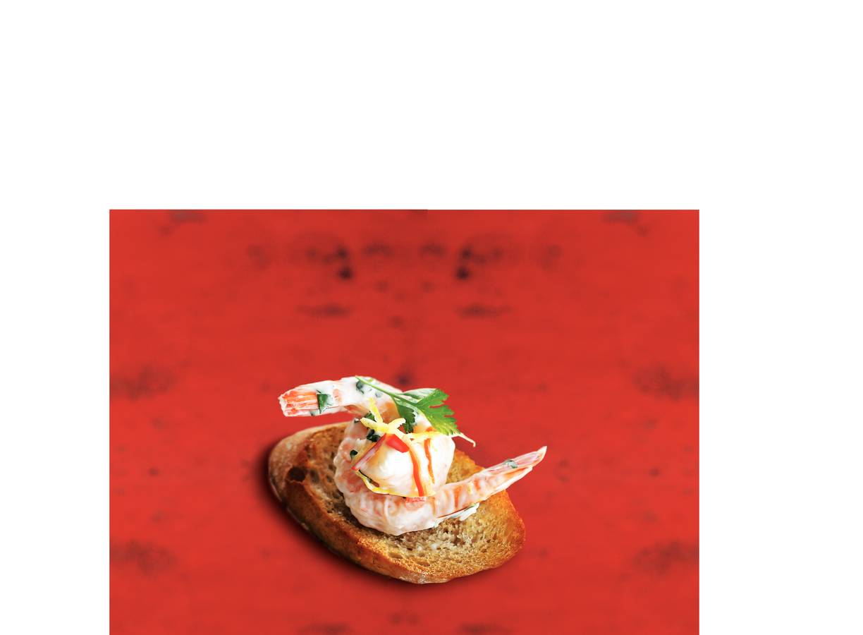 Stokjesbrood pittige garnalensalade