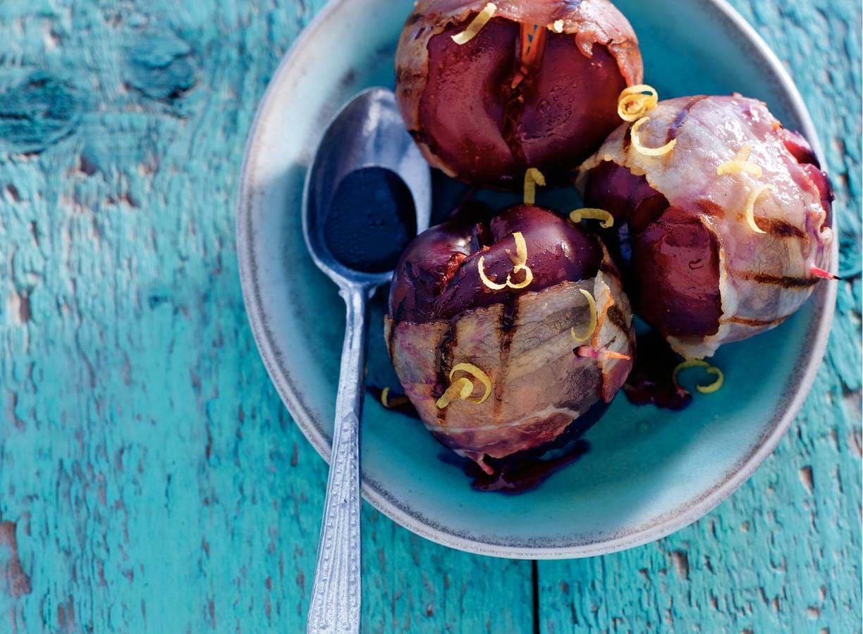 Pruimen met spek en balsamico