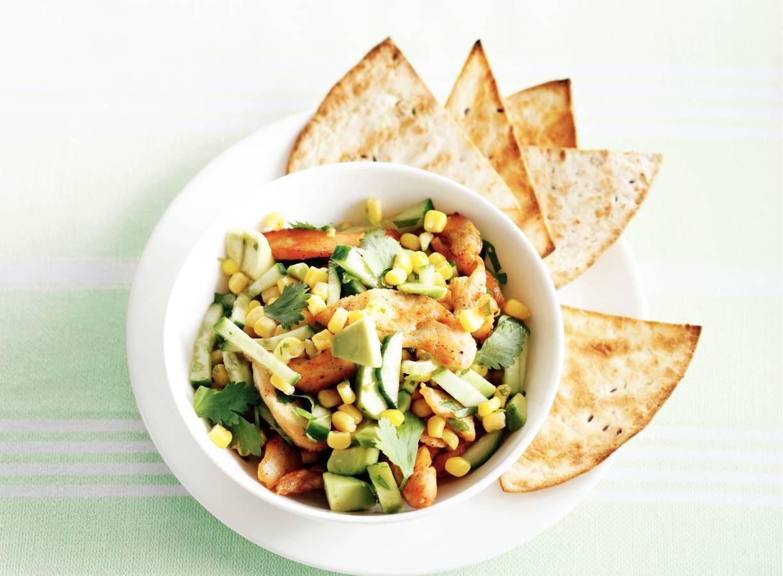 Salade met mais en kip