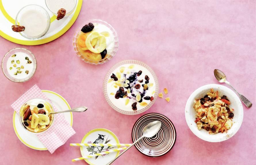Yoghurt met bosbessen