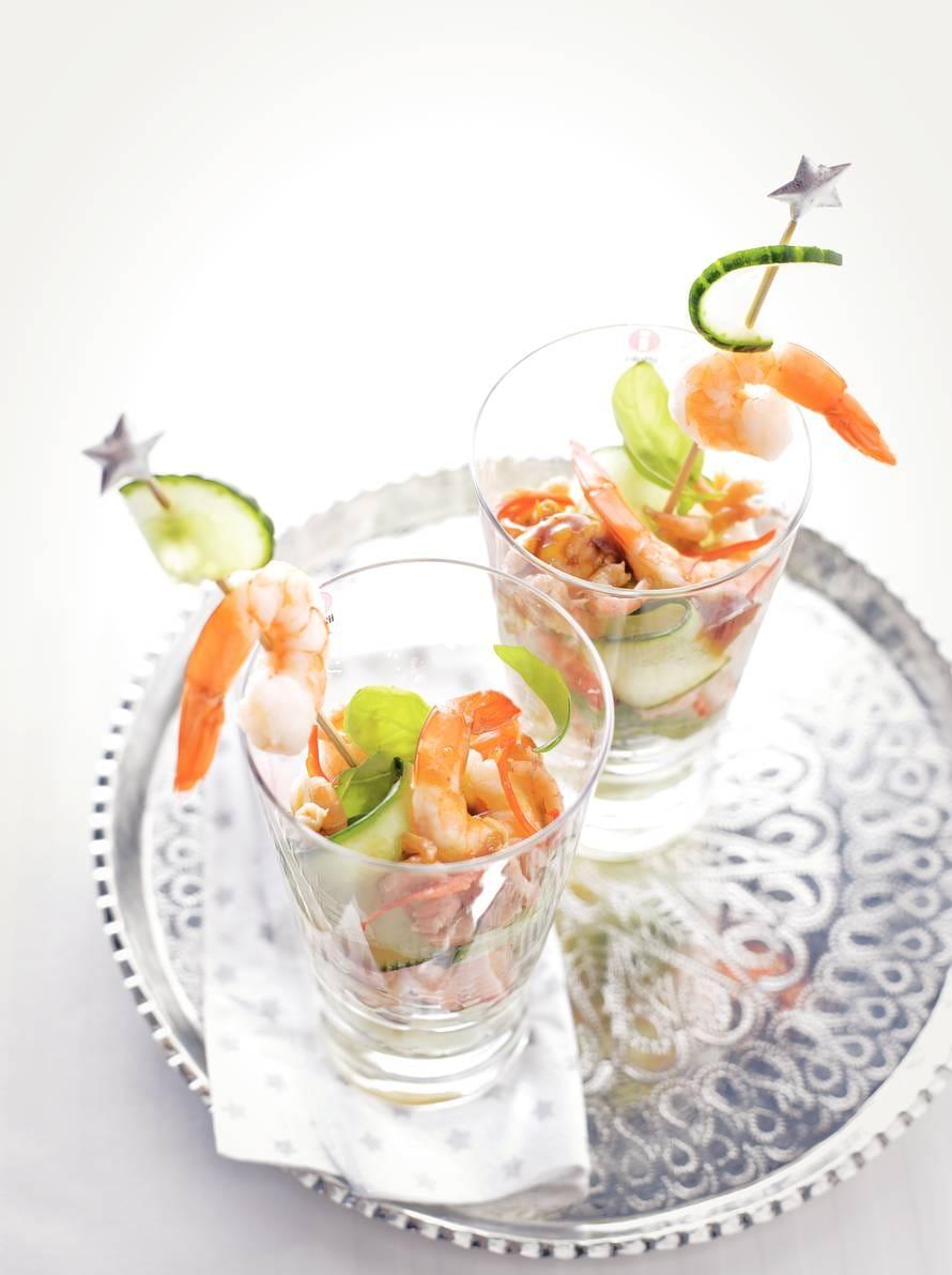 Garnalencocktail met rode peper en komkommer