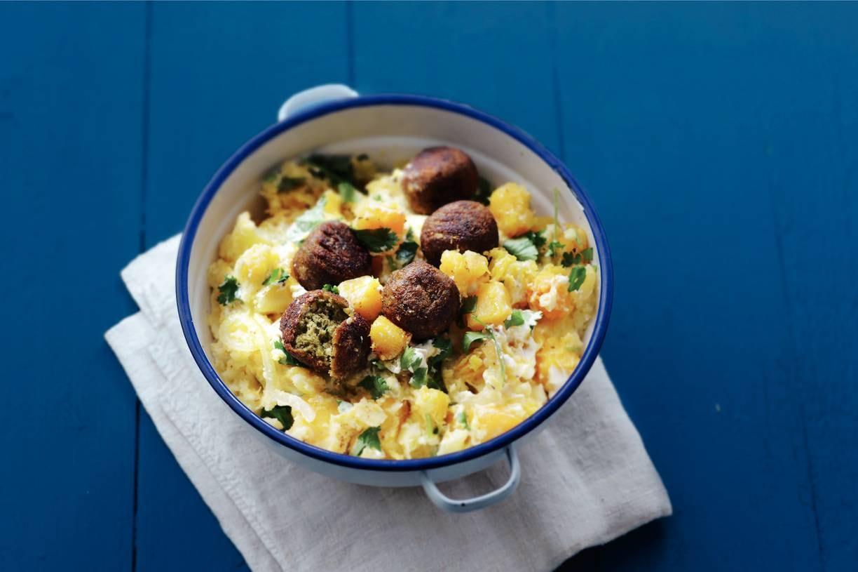 Hutspot, yoghurt en koriander