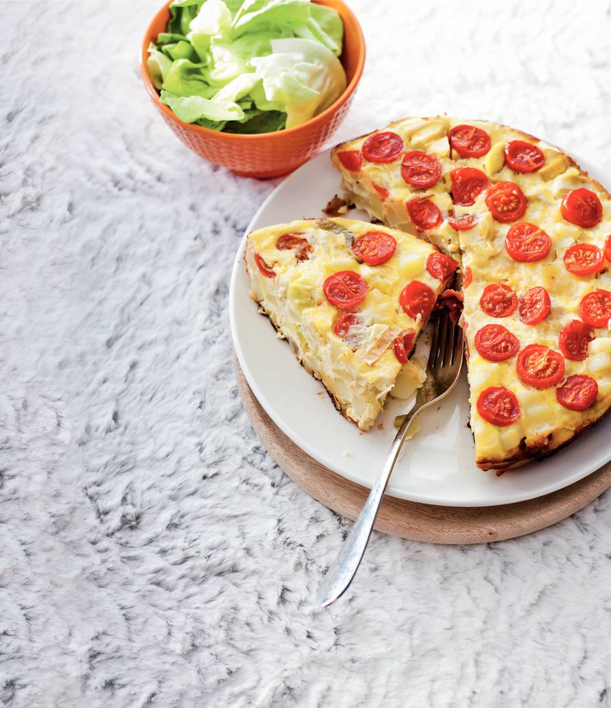 Aardappelomelet met tomaten