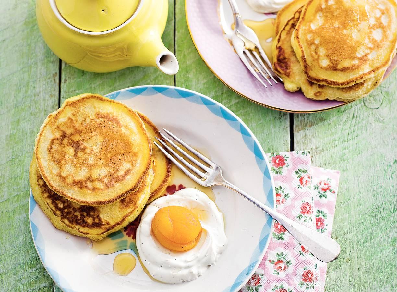American pancakes met abrikoos