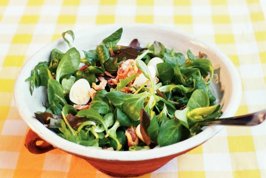 Salade met pancetta