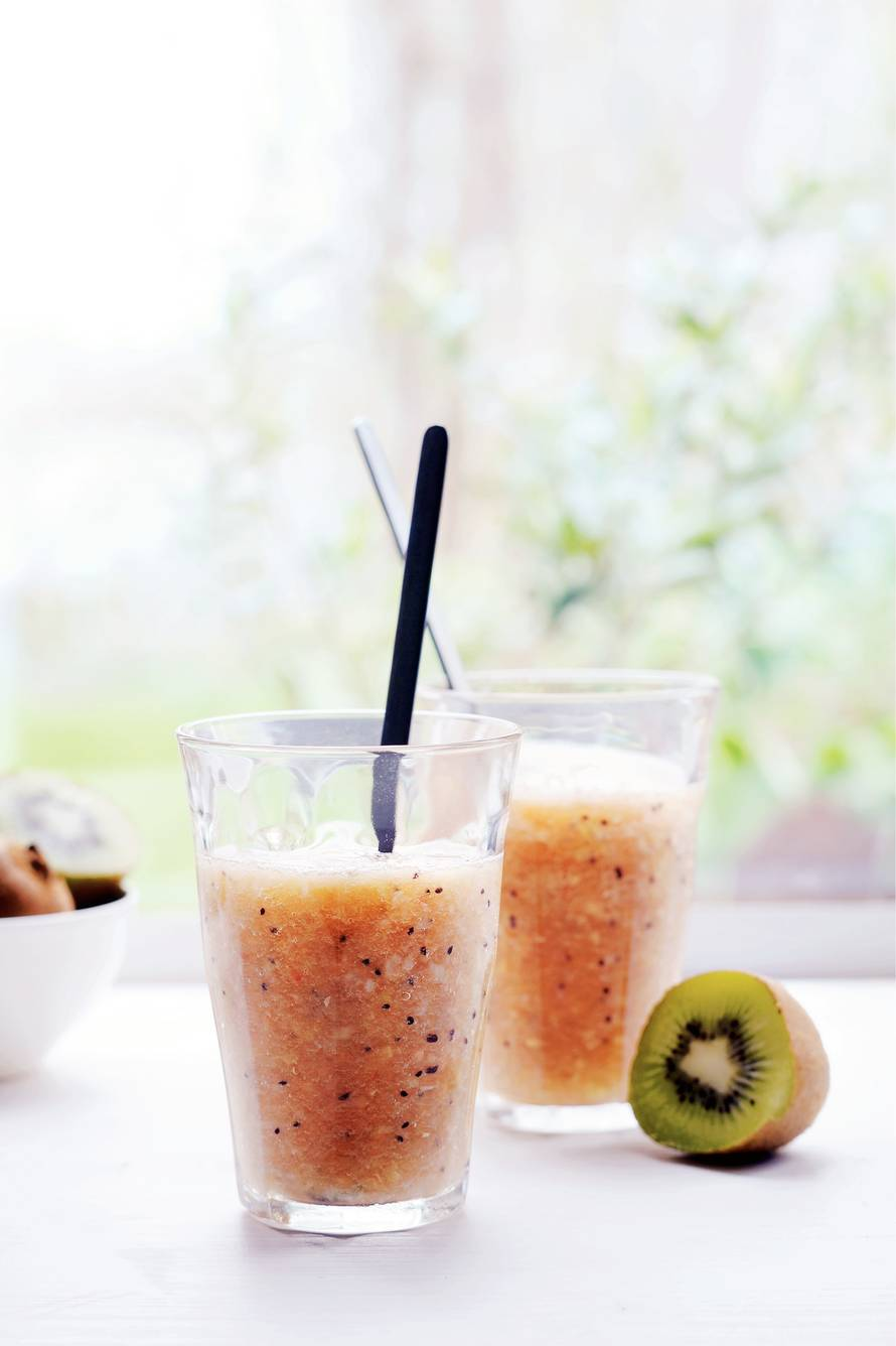 Kiwi-lychee-meloen-gembersmoothie