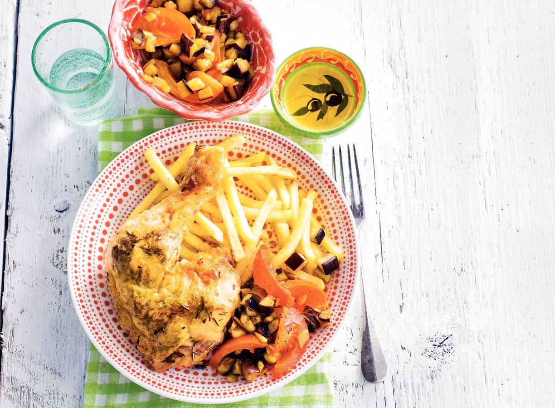 Franse rozemarijnkip met frites