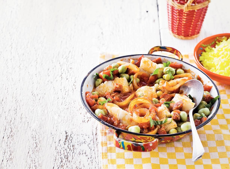 Spaanse bonenschotel met vis