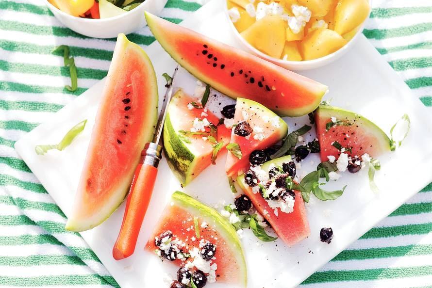 Watermeloen met witte kaas