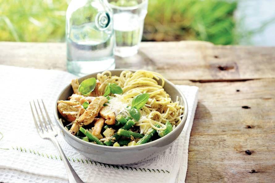 pasta met kip en sperziebonen