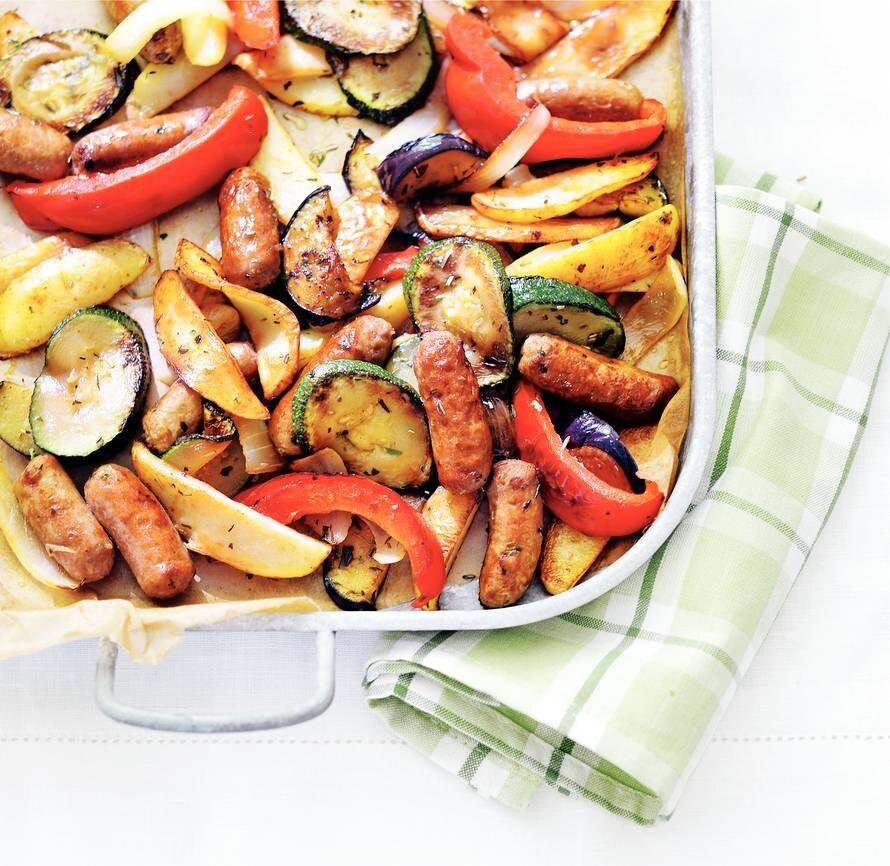 Ratatouille met aardappel en worst