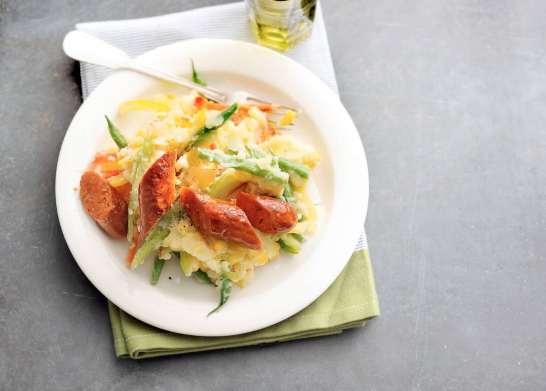 Maisstamppot met paprika en boontjes