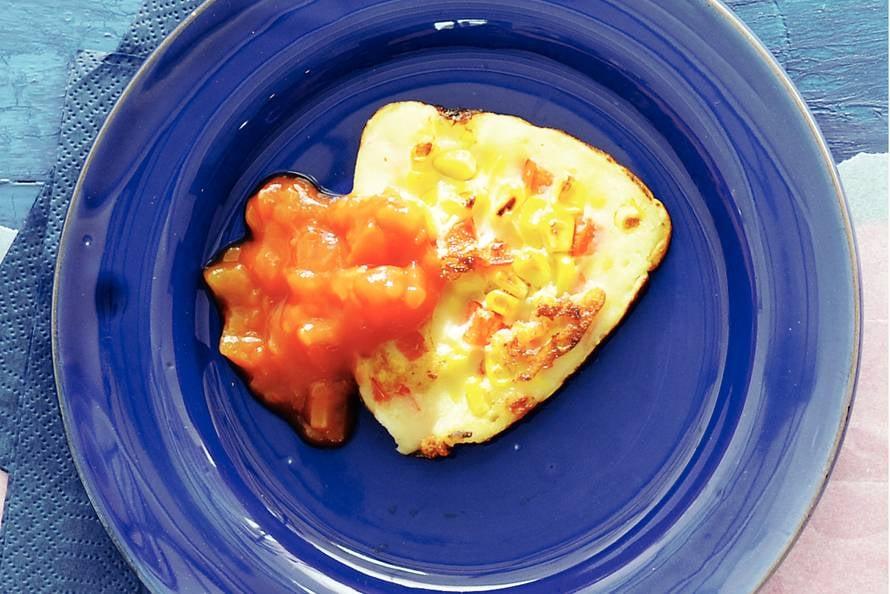 Mais-paprikapannenkoekje met salsa