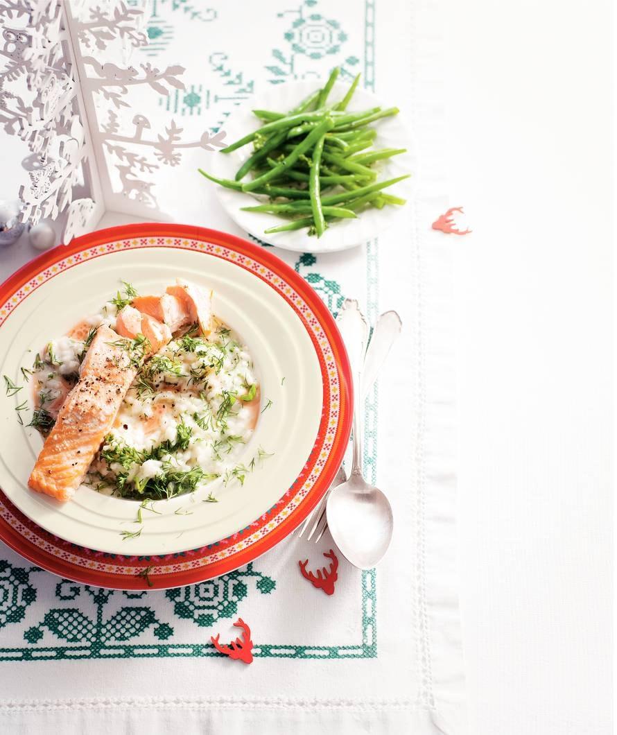 Zalm met rosésaus en risotto
