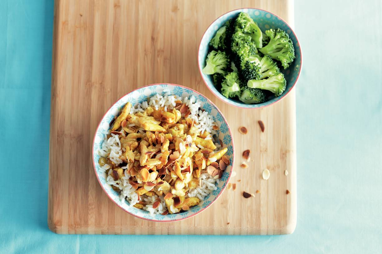 Romige kip korma met broccoli