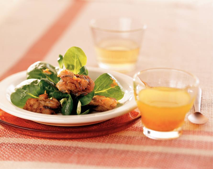 Gebakken oesters met citrusdressing