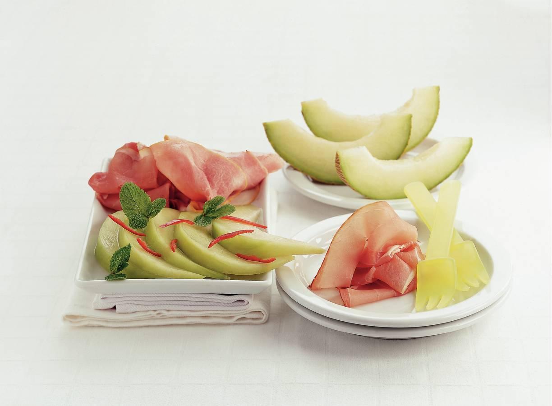 Gemarineerde meloen met ham