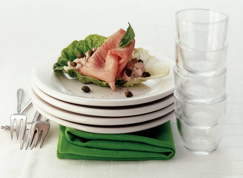 Fricandeau met tonijn in slablad