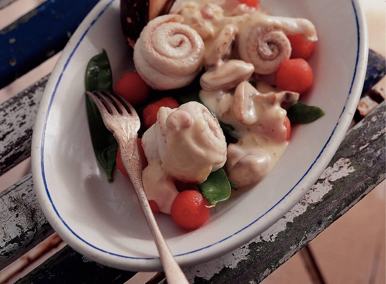 Tongfilets met garnalen en champignons