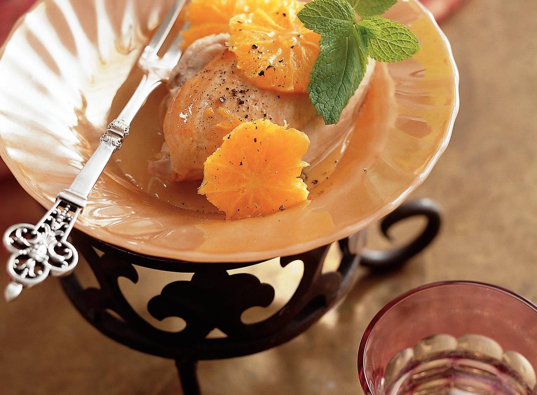 Kip met sinaasappel en munt