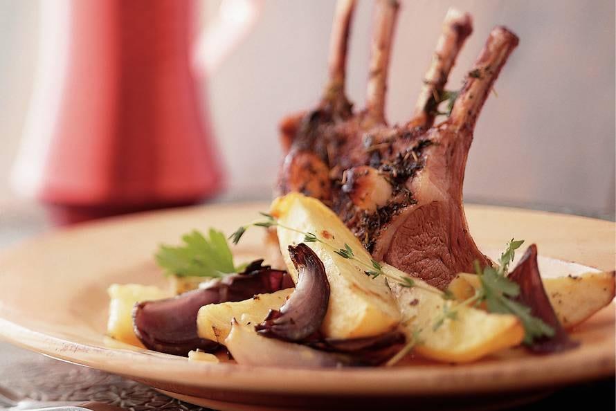 Geroosterde lamsrack met aardappel