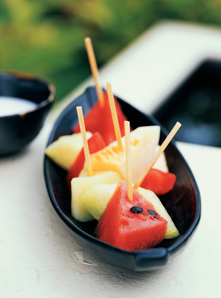 Gekoelde kokosmelk met meloen