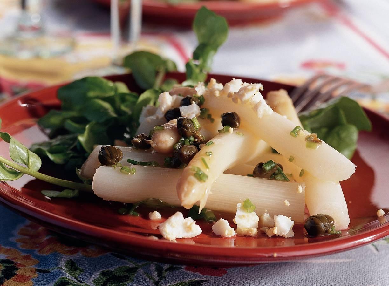 Witte asperges met vinaigrette