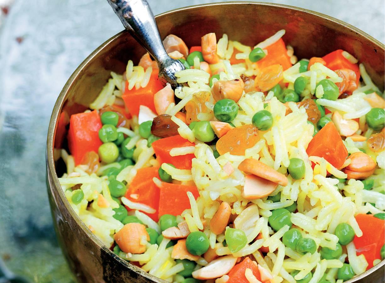 Saffraanrijst met groenten