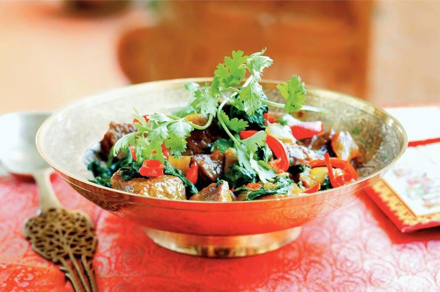 Lamsvlees met spinazie