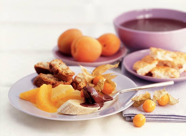 Chocoladefondue met een vleugje sinaasappel