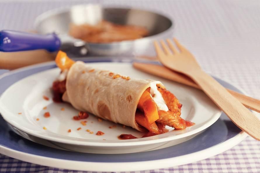 Tortilla met kalkoen en paprika