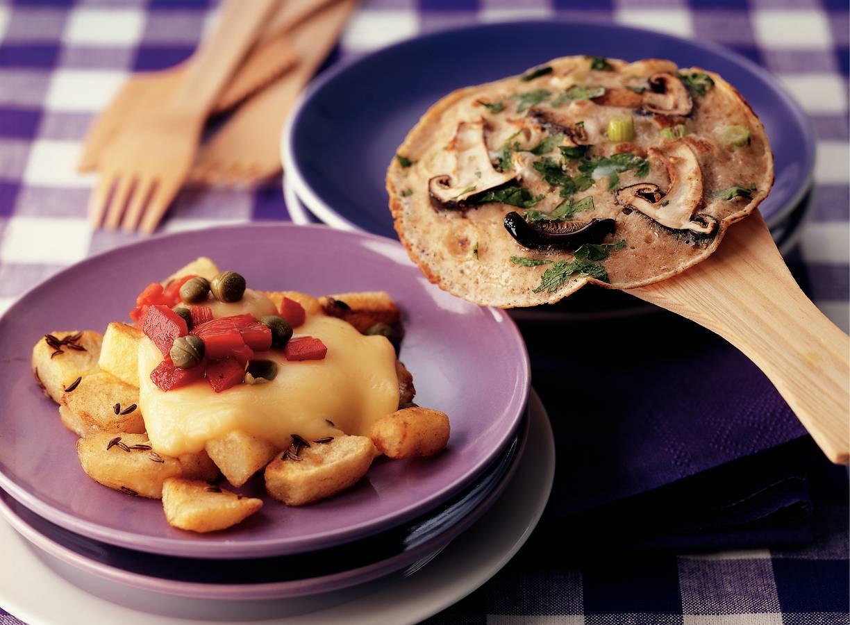 Pannenkoekjes met paddenstoelen en koriander