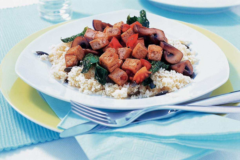 Tofu met paddestoelen en spinazie