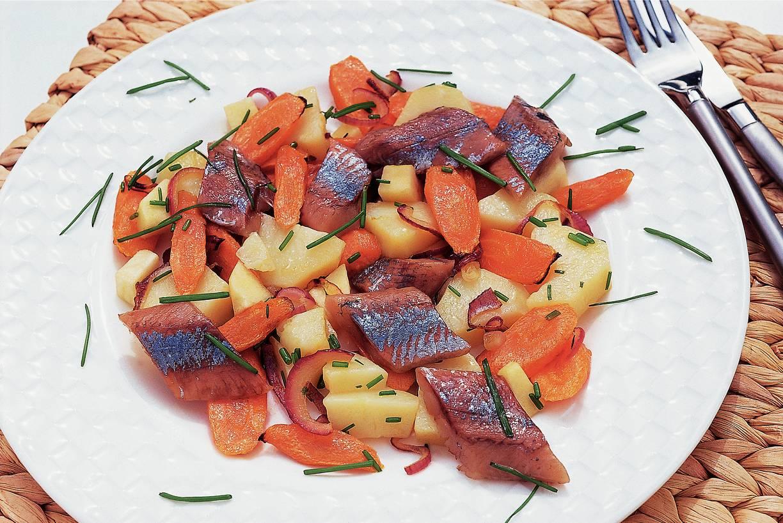 Haringsalade met geroosterde groenten