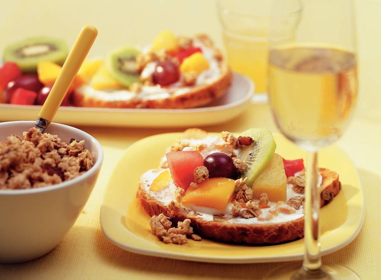Fruitsandwich met yoghurt
