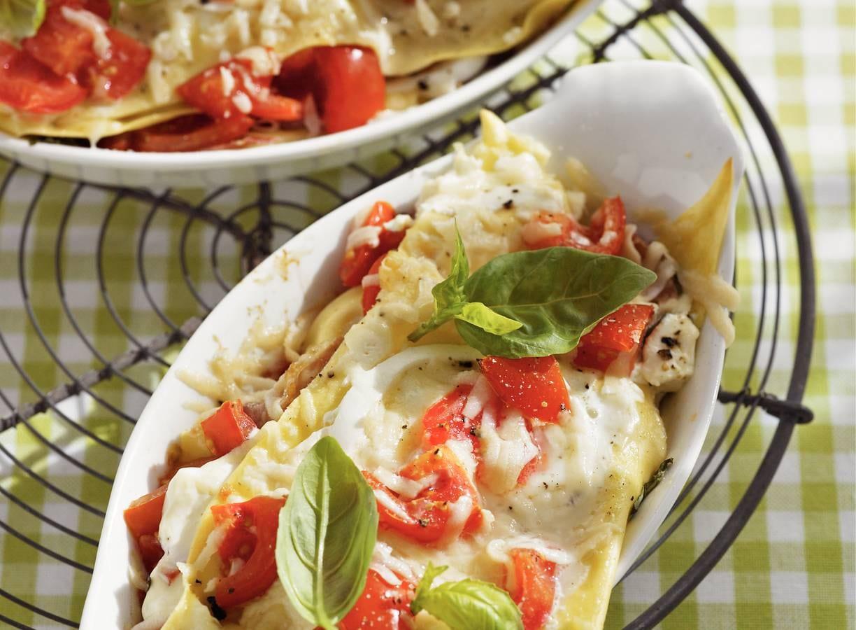 Lasagne met tomaat en mozzarella