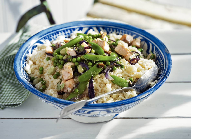 Tajine met zalm en couscous