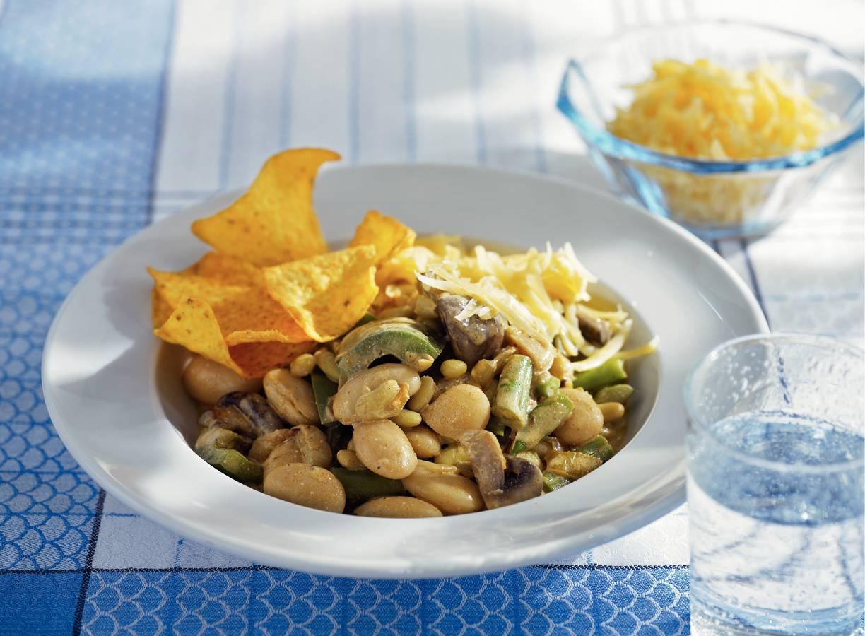 Chili van witte en groene bonen