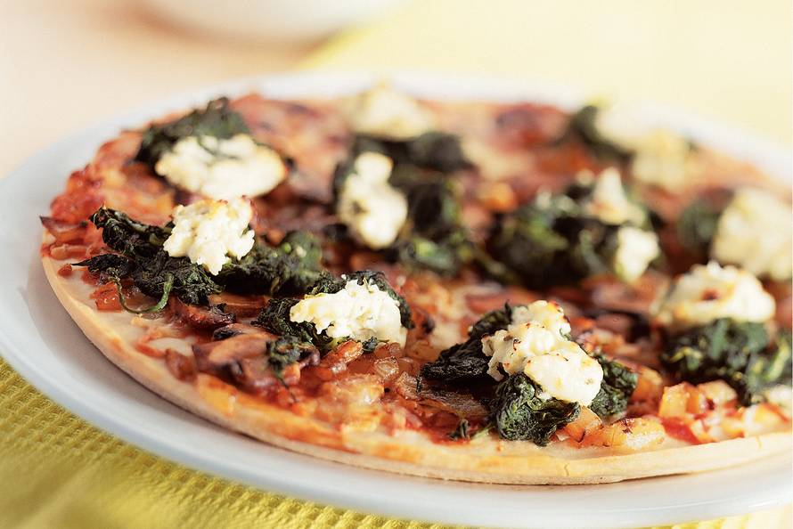 Pizza met kastanjechampignons