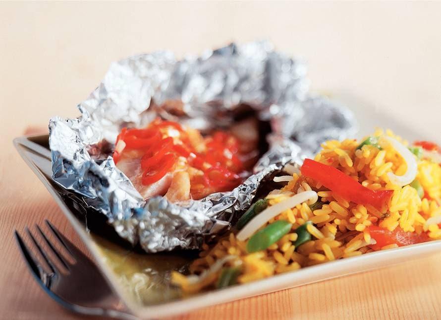 Nasi met pittige vis