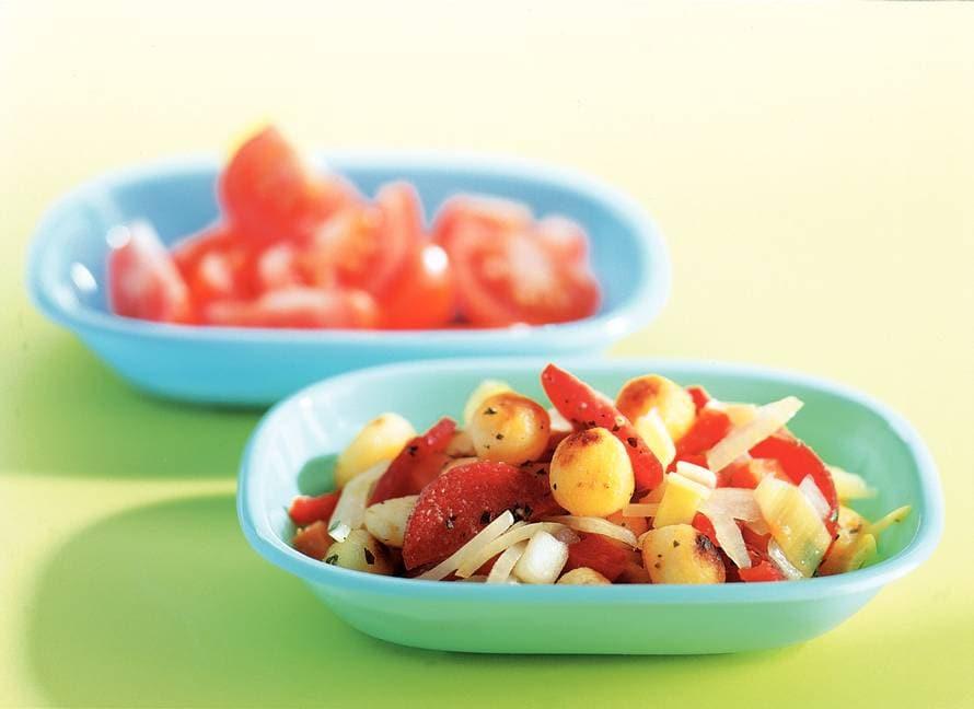 Italiaanse krieltjes met tomatensalade