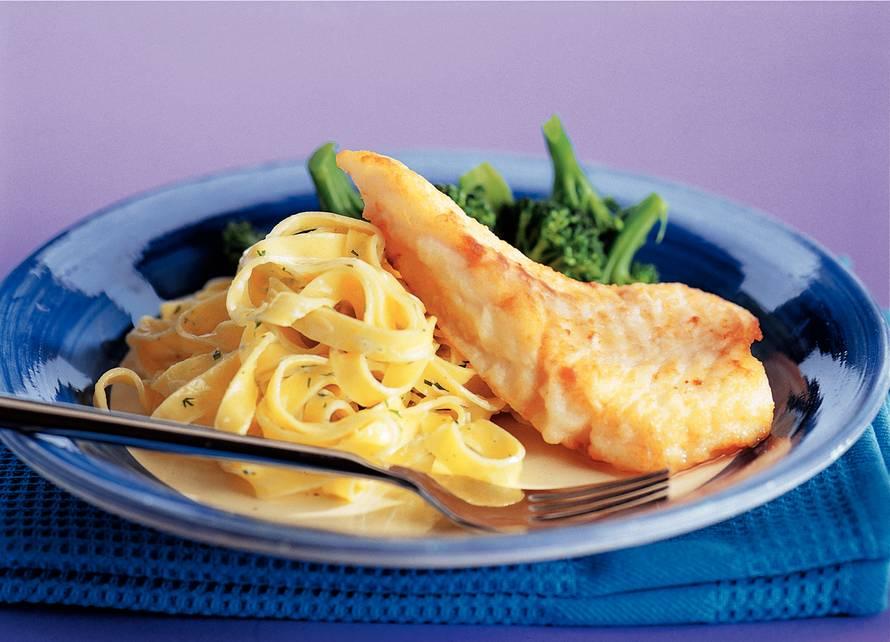 Kabeljauw met pasta en dillesaus