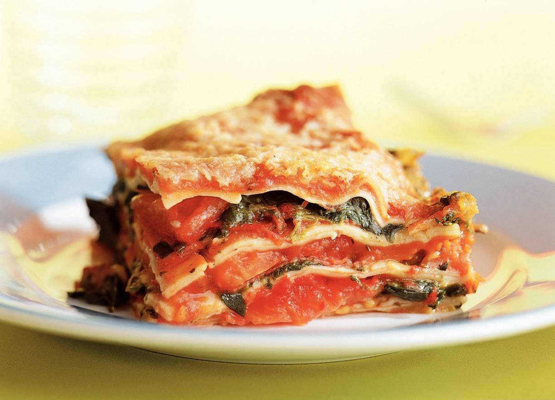 Lasagne met salami en spinazie