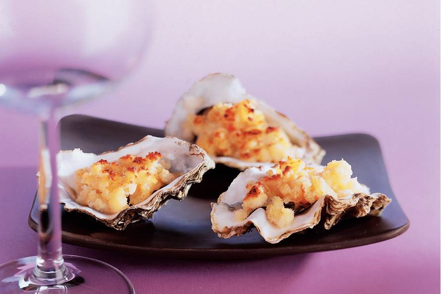 Pittig gegratineerde oesters
