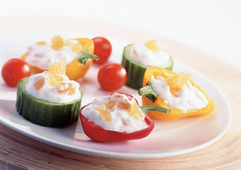 Mini-groente gevuld met gemberkaas