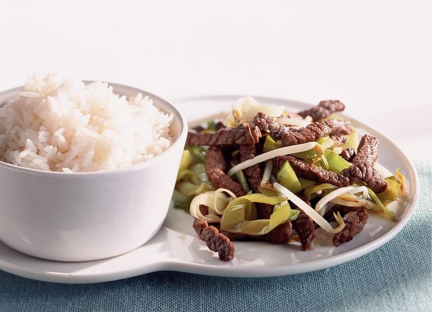 Rijst met biefstukreepjes