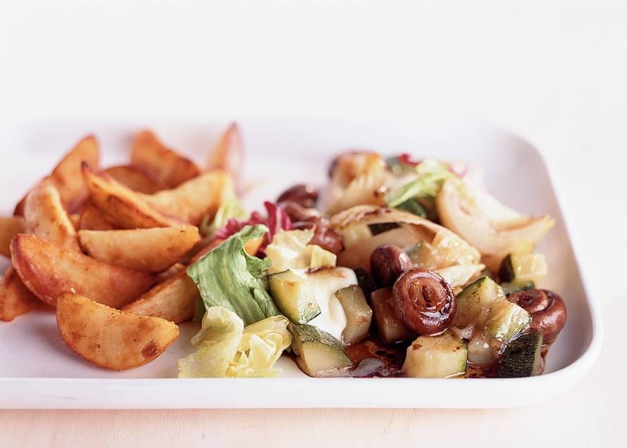 Groente-kaaspakketjes met aardappeltjes