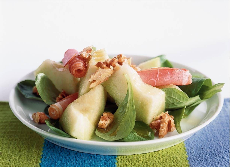 Meloensalade met ham en walnoten